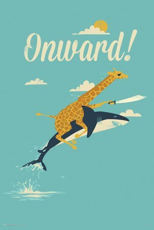 Wood Framed Jay Fleck Art Poster / Print Onward ! Giraffe Riding a Shark