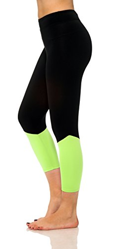 Women's Active Workout Printed Capri Leggings Yoga Pants Fitted Tights Plus Size (XX-Large, Lime 2111)