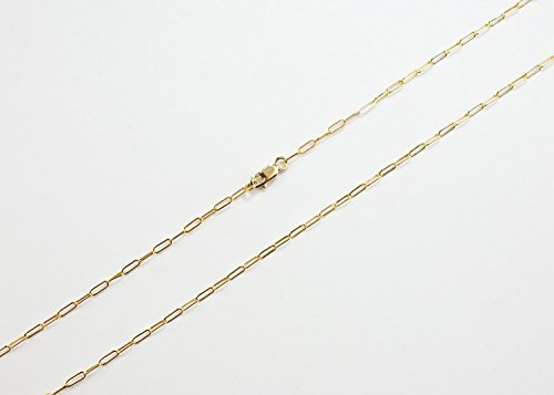 14K Gold Filled Drawn Cable 5x2mm Chain Necklace Gold Filled Lobster Clasp (15 Inches)