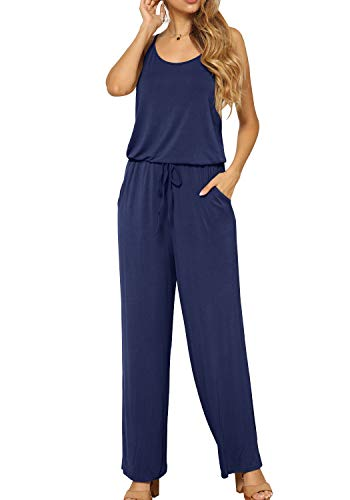 LAINAB Womens Casual Summer Drawstring Wide Leg Jumpsuit Rompers Pants Deep Blue XL