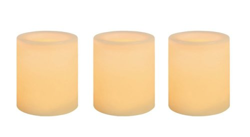 Inglow CG10286CR3 Battery-Operated 1-3/4-Inch Flameless Wax-Covered LED Votive Candle, Cream, 3-Pack