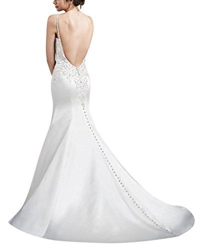 backless con abito sposa da Avorio in BRIDE Sling a raso V sexy scollo GEORGE BEWqYnx7n
