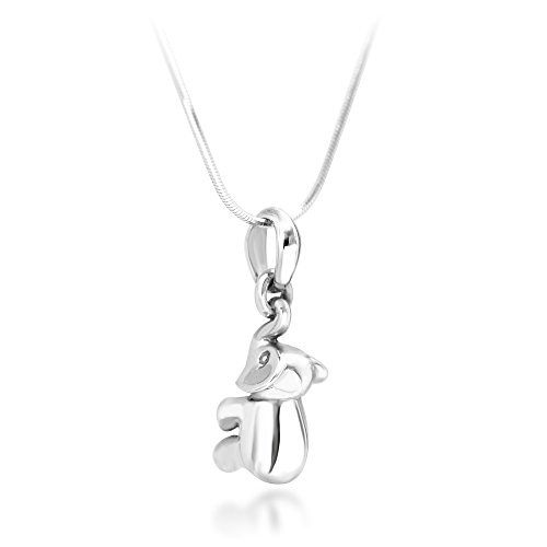 Chuvora 925 Sterling Silver 3D Elephant Animal Lovers Pendant Necklace, 18 inches