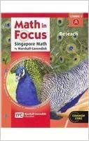 Book Math in Focus: Singapore Math: Reteach, Book A Course 1 by HOUGHTON MIFFLIN HARCOURT (2011-06-29)