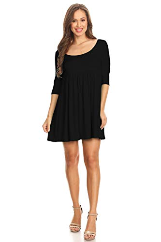 (Solid Casual Round Neck Tunic Top Midi Dress/Made in USA Black XL)