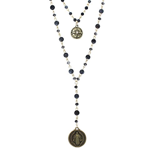Rosemarie Collections Women's Beaded 2-Strand St Benedict Cross Pendant Necklace (Gold Tone/Black)