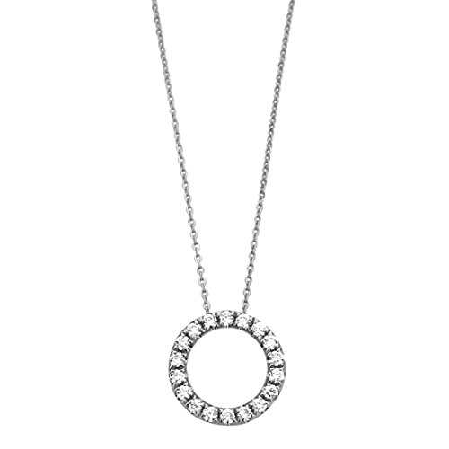 14K White Gold Round 0.20 cttw Diamond Circle Eternity Pendant Necklace Chain (14, 16, 18, 20, 22 (Double Circle Diamond Earrings)
