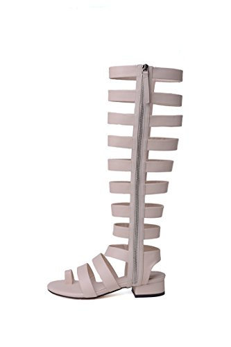 2018 New Genuine Leather Gladiator Sandals Women Cut Outs Sexy Summer Black Ladies Sandals,Long-Beige,3 -