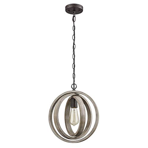 Modern Rustic Single Light Wood Orb Pendant with Antique Grey Wash Finish and Bronze Base