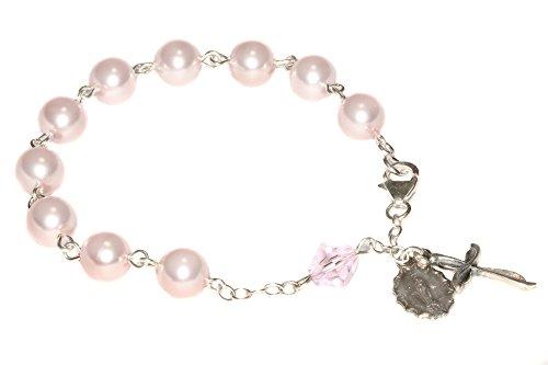 (Womens Rosary Bracelet Made w/Pearlized Rosaline Pink Swarovski Crystals - Confirmation, RCIA, Valentine's, Birthday, Mother, More)