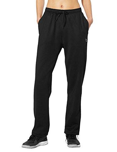 Baleaf Women's Running Fleece Pants Zip Pocket Black Size L