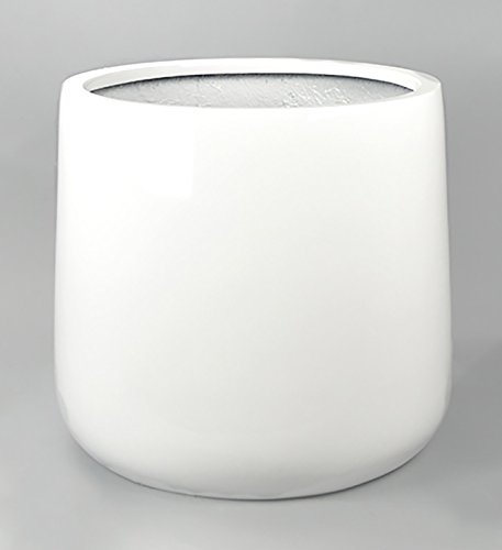 Shiny White Round Orchid Pot Planter - Fiberglass Flower Pot 21''H x 21'' Diameter - by VaseSource by VaseSource