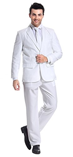 U LOOK UGLY TODAY Men's Party Suit Pure White Solid Color Bachelor Party Suit for Adult and Mens-Small]()