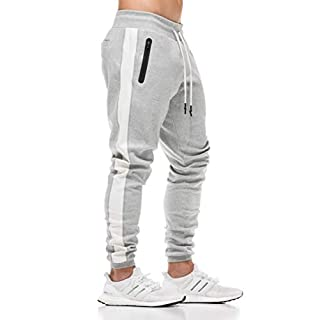FLYFIREFLY Men's Gym Sport Pants Bodybuilding Workout Running Jogger Slim Fit Sweatpants Grey