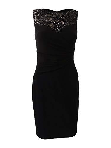 Lauren Ralph Lauren Women's Sequined Top Jersey Sheath Dress (18, Black)