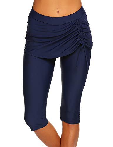 Sheshow Jammers for Women Swim Pants Capris UPF 50+ Water Outdoor Sport Leggings Navy Blue ()