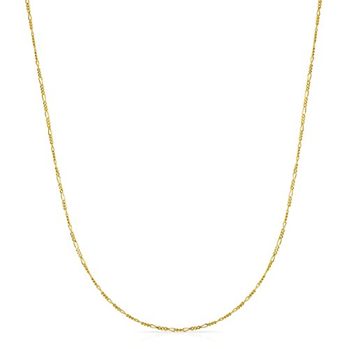Price comparison product image 16 Inch 10k Yellow gold Figaro Chain Necklace for Girls and Boys(1.5 mm)