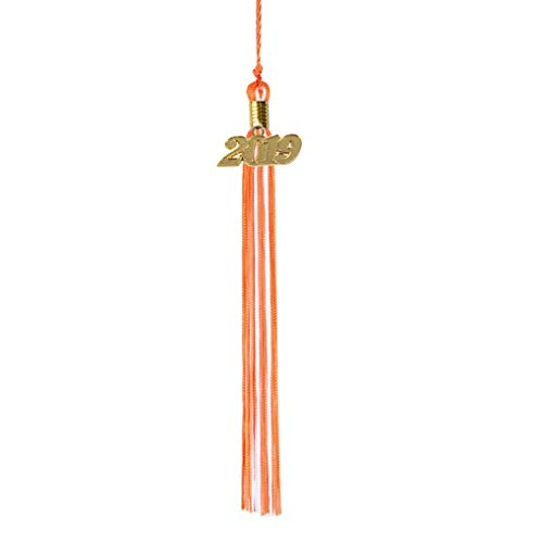 GraduationRoyal Two-Colored Graduation Tassel (9-inch) with Gold Year Charm (2019, Orange&White)