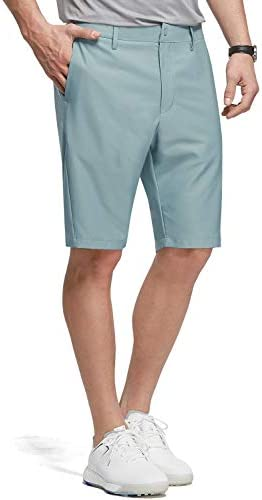 BALEAF 10″ Golf Stretch Shorts for Men Flat Front Active Waistband Quick Dry Lightweight Casual Shorts with Zipper Pockets