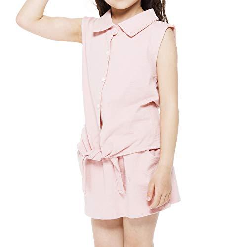 Stylish Toddler Baby Girls Kids Clothing Set Cute Sleeveless Summer Shirts and Pants Skirts 2pcs Outfits Pink 100/4T