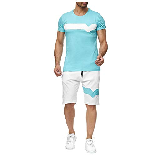 Men's Tracksuit T-Shirts and Shorts Short Sleeve Crew Neck Tops and Knee Length Shorts for Running Athletic Sports Set Blue