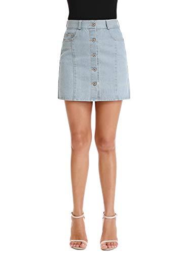 Mia Pristine Women's High Waisted Button Front Non Stretch Denim Short Skirt Natural Color,Light Blue 2