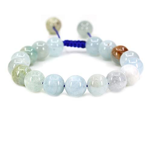 AMANDASTONES Natural Multicolor Aquamarine Gemstone 10mm Round Beads Adjustable Braided Macrame Tassels Chakra Reiki Bracelets 7-9 inch Unisex
