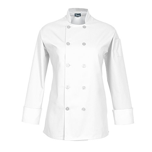 Fame Fabrics 83205 C100P Long Sleeves, 10 Buttons Chef Coat, Women's Fit, White, ()