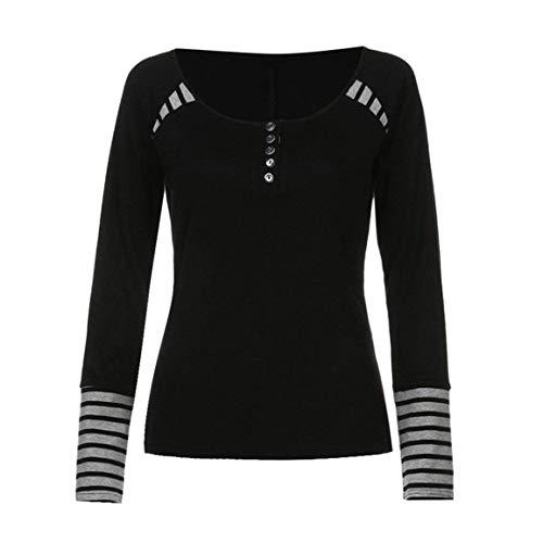 Moda Giovane Magliette Rotondo Manica Shirts Tops Giuntura Vintage Shirts Camicetta Casual Eleganti Collo Button Women Lunga Donna Schwarz Autunno Primaverile Strisce wYqAqXf1