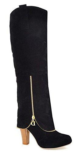 Image of IDIFU Women's Dressy High Block Heels Faux Suede Knee High Boots Long Wedding Booties Black 8 B(M) US