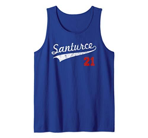 (Distressed Santurce 21 Puerto Rico Baseball Tank Top)