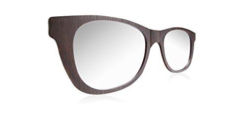 Oversized Wall Mirror in Wayfarer Sunglasses Style Modern Home Decor - Dark Walnut 46in X - Wall Mirror Sunglasses