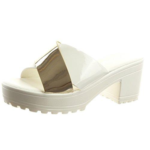 Sopily - Zapatillas de Moda Sandalias Abierto Zapatillas de plataforma Tobillo mujer brillantes Talón Tacón ancho alto 7 CM - Blanco