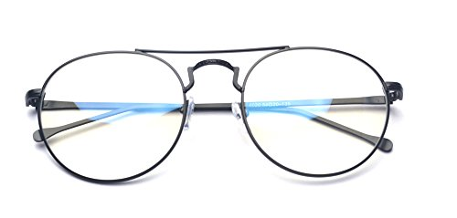 Outray Retro Round Metal Clear Lens Glasses Black