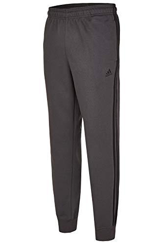 adidas Mens Essential Cotton Fleece Jogger Sweatpants (Dark Grey/Black, Large)