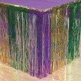Mardi Gras Table Cover (Fun Express Mardi Gras Metallic Fringe Table Skirt (2 PACK) (2))