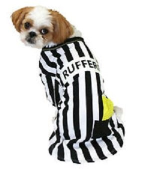 Target Referee Costume (Pet Tee - Rufferee - Glow in the Dark Referee Costume (X-SMALL))
