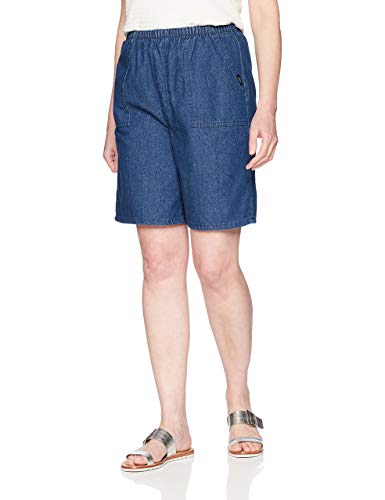 Chic Classic Collection Women's Plus Size Utility Pull On Bermuda, Original Stonewash, 18W