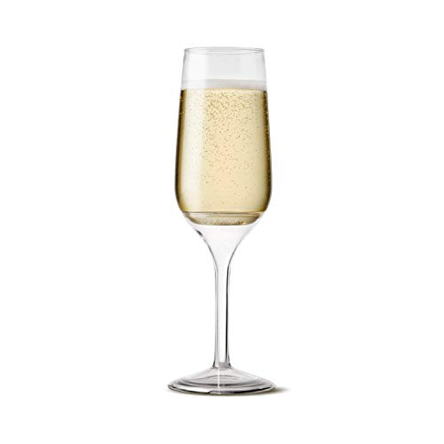 TOSSWARE 6oz Stemmed Flute - recyclable champagne plastic cup - SET OF 12 - detachable stem, shatterproof and BPA-free flute glasses -