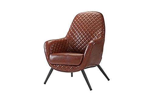 (Monowi Brown Faux Leather Upholstered Arm Chair, Accent Chair with Diamond Stitch | Model CCNTCHR - 194)