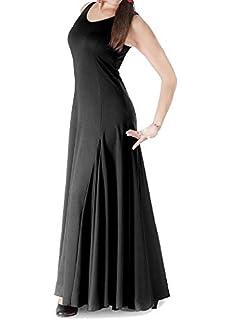 Vestido de Mujer para la Danza Flamenco o sevillanas (Negro, Talla ...