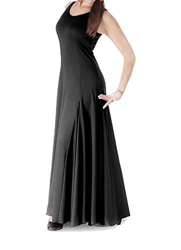 Anuka Vestido de Mujer para la Danza Flamenco o sevillanas (Negro, S)