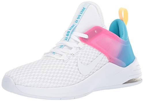 Nike Women's Air Max Bella Trainer 2 Sneaker, White Blue Fury Laser Fuchsia, 11 Regular US