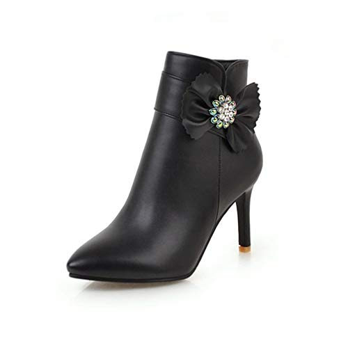 T-JULY Women Butterfly-Knot Crystal High Heel Boots Winter Sexy Plus Size Autumn Zipper Yellow Boots Pointed Toe Ankle Boots
