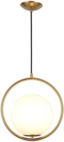 JinYuZe Round Pendant Light,Gold Black 1-Light Indoor Ceiling Light Fixture with White Lampshade,Gold
