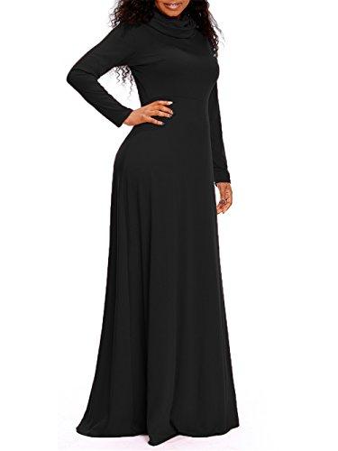 Pleated Cowl Neck Dress (Corala Women's Long Sleeve Cowl Neck Plain Loose Maxi Dresses Casual Long Dress,XX-Large,Black)