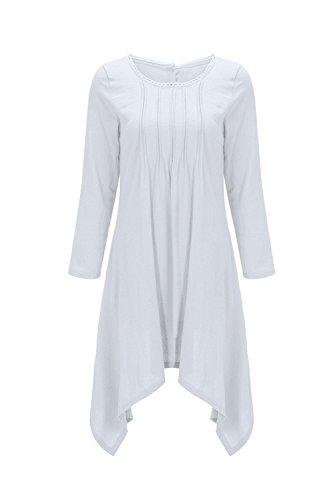 Occasionnels en Irrgulires La White Vrac De Solides Et Les Femmes Derrire La Bouton du Robe Tunique Taille xvfS67