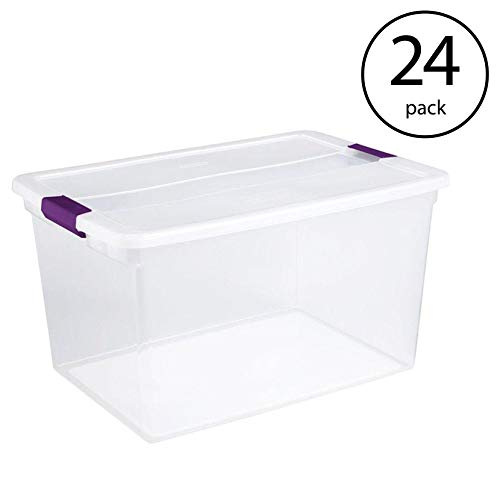 Sterilite 17571706 66-Quart ClearView Latch Box Storage Tote Container-(24 Pack)