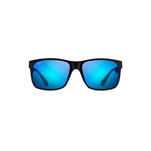 Maui Jim Red Sands B432-2M | Polarized Matte Black Rectangular Frame Sunglasses, Blue Hawaii, with with Patented PolarizedPlus2 Lens Technology