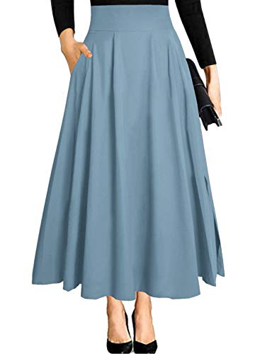 - Ranphee Women's High Waist Light Blue A-line Pleated Flowy Skirt with Pockets